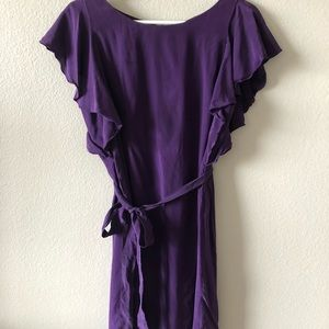 Silk purple dress with sash and flutter sleeves